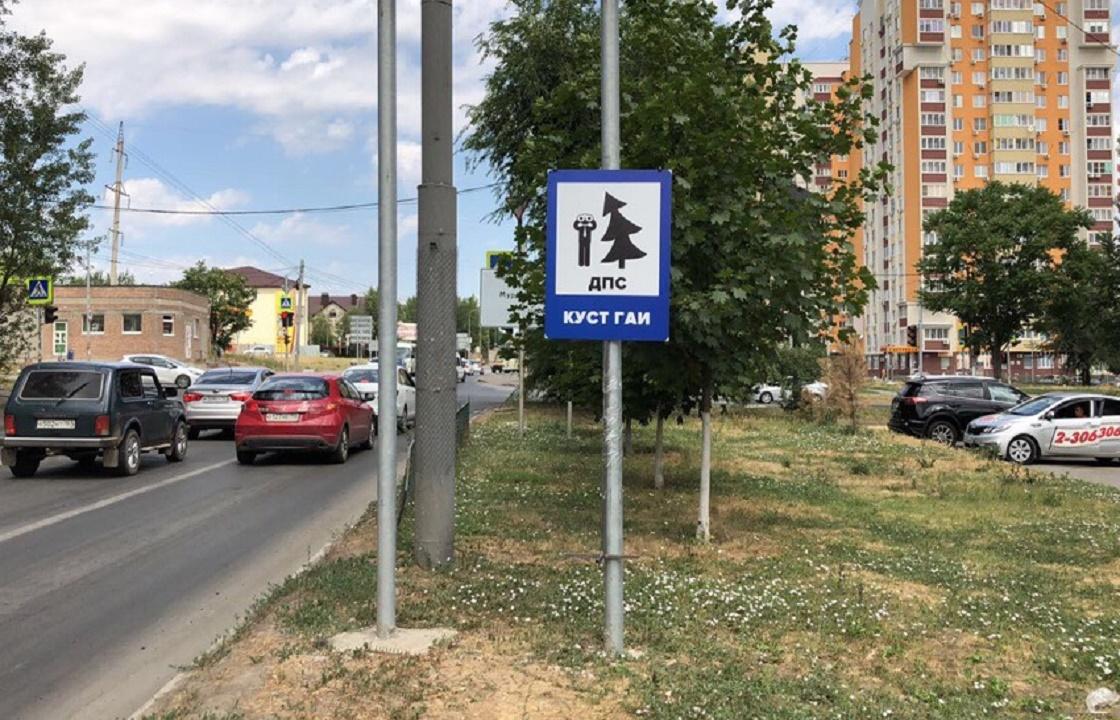 Дорожный знак «ГАИ за кустом» установили в Ростове